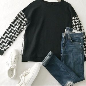 Back + White Houndstooth Sleeve Pullover
